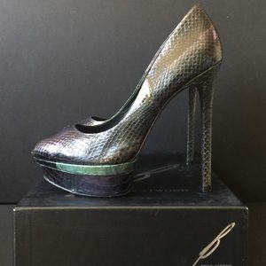 B by Brian Atwood Iridescent Leather Platforms